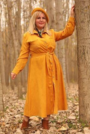 Nesrinden Gömlek Yaka Fitilli Hardal Büyük Beden Uzun Kadife Elbise