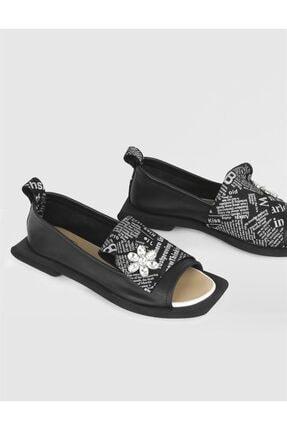 İlvi Kadın Deri Siyah Sandalet