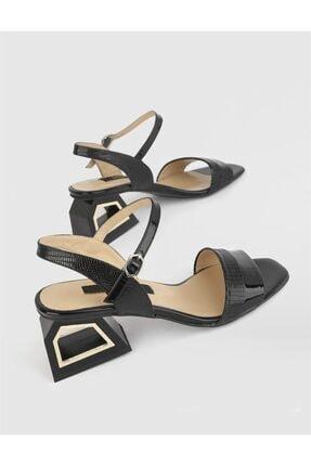 İlvi Kadın Siyah Rupol Rugan Hakiki Deri Topuklu Sandalet