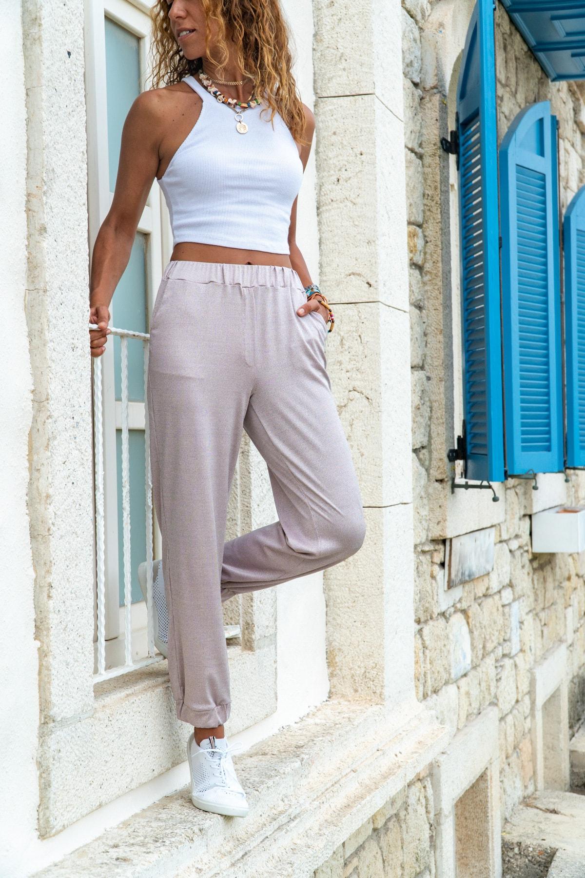Güneşkızı Kadın Pudra Paçası Lastikli Yumuşak Dokulu Salaş Pantolon GK-BST2888