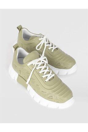 İlvi Kadın Yeşil Hakiki Deri Spor Ayakkabı