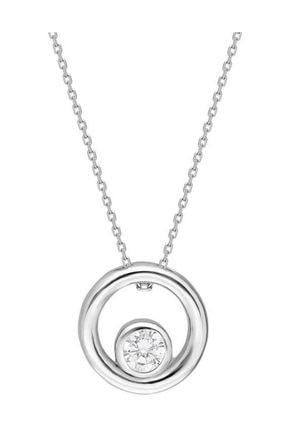 Tesbihane Kadın Tektaş Halka Tasarım 925 Ayar Gümüş Kolye