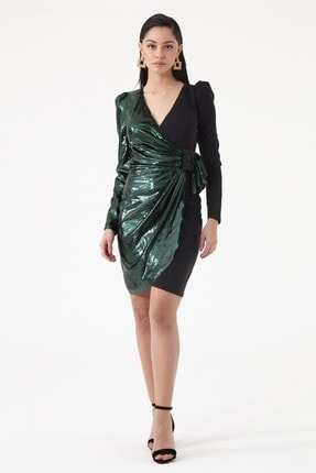 Keikei Yeşil Krep Uzun Kol Kısa Elbise