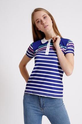 Deppoist Kadın Yakalı Çizgili T-shirt