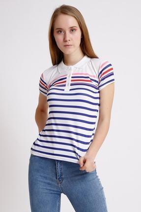 Deppoist Yakalı Çizgili T-shirt