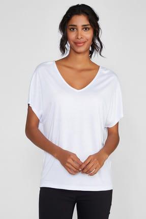 Vekem Kadın Kırık Beyaz V Yaka Basic Bluz 8107-0150
