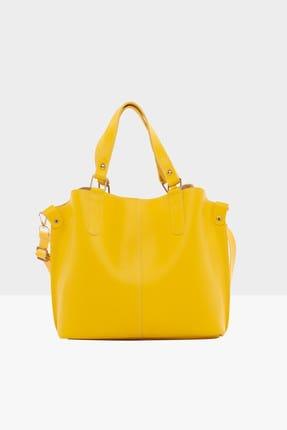 Bagmori Sarı Kadın Üç Bölmeli Çıtçıt Detaylı Çanta M000002918