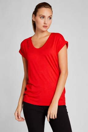 Vekem Kadın Kırmızı U Yaka Japone Kol Bluz 9113-0004