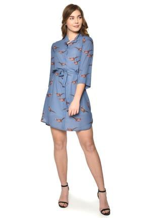 Pitti Kadın Koyu Mavi Elbise Kuşlu 51062