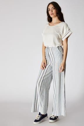 Vekem Kadın Lacivert Beyaz Çizgili Geniş Paça Pamuk Keten Pantolon 9101-0010