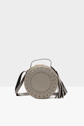 Bagmori Gri Kadın Örgü Detaylı Davul Çanta