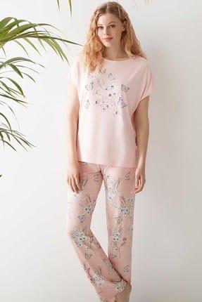 CATHERINE'S Kadın Somon  Pijama Takım