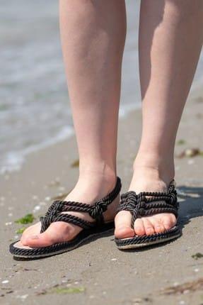 CAMASIRCITY Kadın Siyah Parmak Arası Sandalet