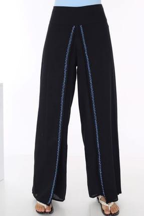 Patiska Kadın Siyah Çift Katlı Nakış Detaylı Salaş Pantolon 4090