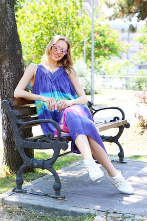 Patiska Kadın Mor Enine Desenli Dantel Detaylı Batik Elbise 4122