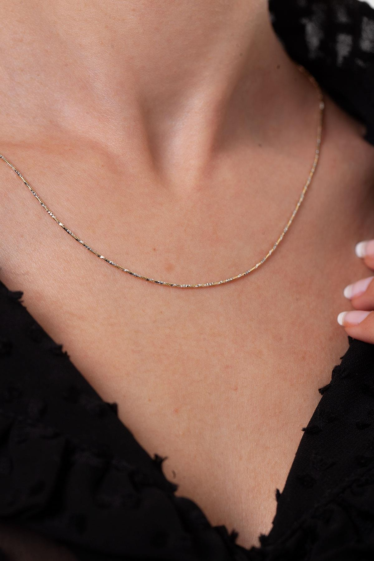 Ninova Silver Kadın Altın Kaplama Gümüş İtalyan Zincir Kolye NNVSLVR02909