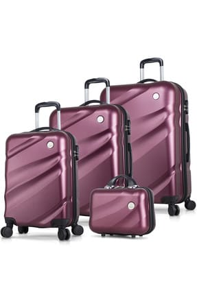 My Valice Unisex Elegance Abs 4'lü Travel Valiz Seti Bordo MV6159