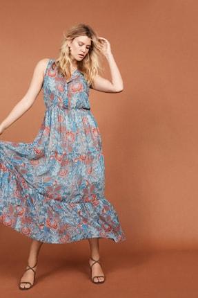 Mango Kadın Mavi Boho Desenli Elbise 57024001