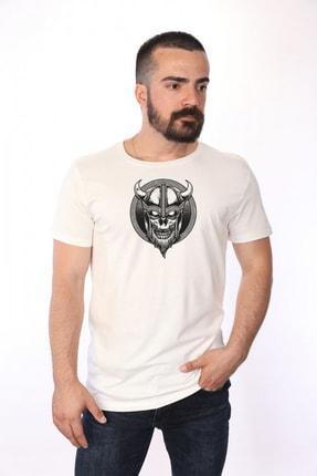 Bambi Viking Sinsi Gülen Kurukafa Pamuklu Beyaz T-shirt 3012622