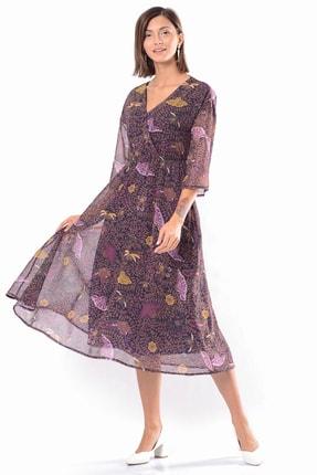 İroni Kadın Lacivert Kruvaze Bel Lastikli Şifon Elbise 5282-1315