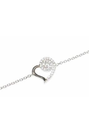 Nusret Takı Kadın 925 Ayar Gümüş Spiral Kalp Modeli Zincir Bileklik, Beyaz Siyah - Beyaz Taş WBHYL087