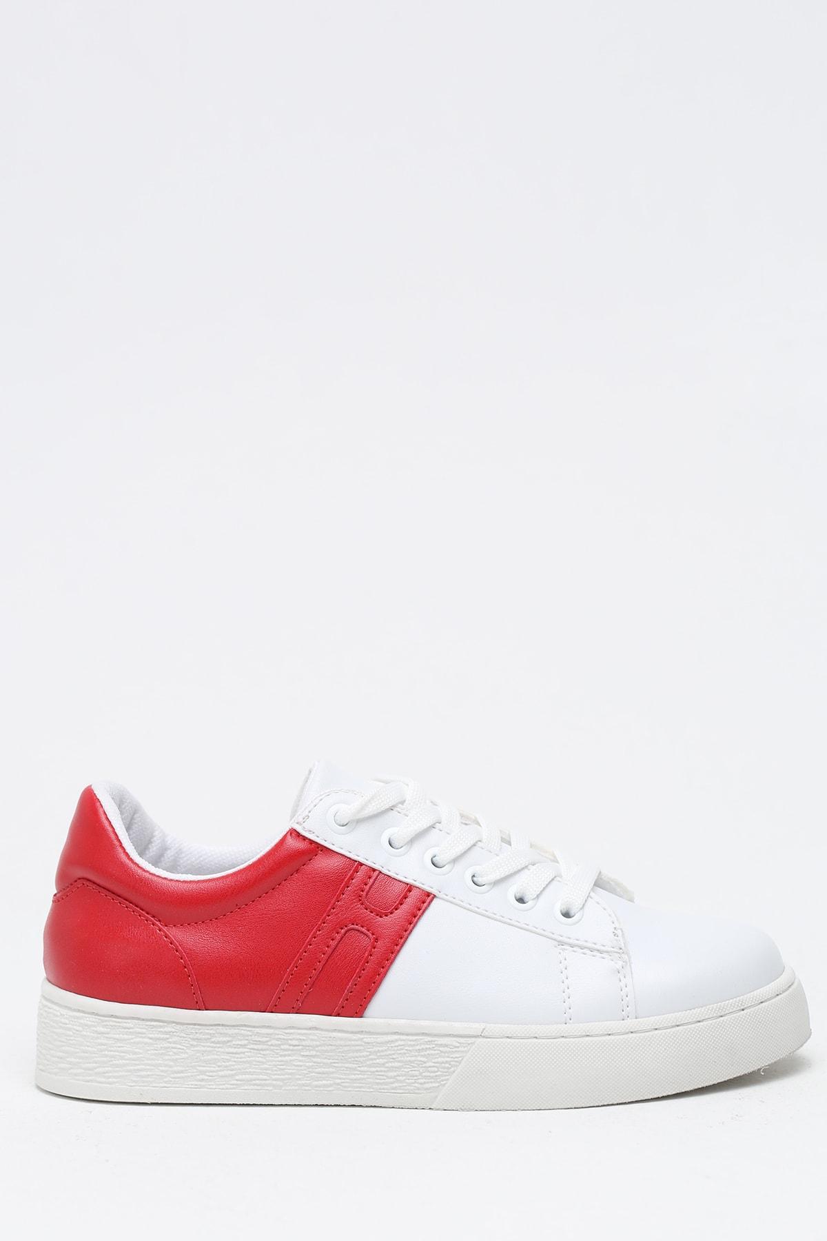 Ayakkabı Modası Beyaz Kırmızı Kadın Ayakkabı M5002-19-110017R
