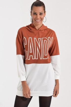 Deppoist Kadın Kiremit Candy Baskılı Kapsonlu Sweatshirt P00012104