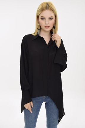 Hanna's Kadın Siyah Manşeti Ve Eteği Asimetrik Siyah Gömlek HN1927