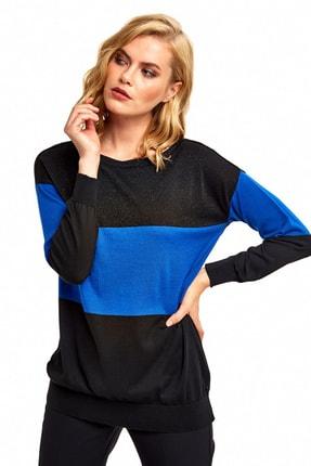 İkiler Kadın Siyah/Saks Iki Renkli Uzun Kol Triko Bluz 190-2607