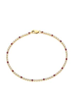 Pink Gold Store Suyolu Pembe Sırataşlı 14 Ayar Altın Bileklik