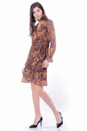 İroni Kadın Hardal Şal Desen Fırfırlı Şifon Elbise 5295-1325