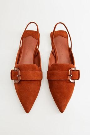 Mango Kadın Yanık Turuncu Tokalı Deri Ayakkabı 67094387