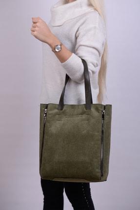 Housebags Kadife Haki Kadın Omuz Çantası 725