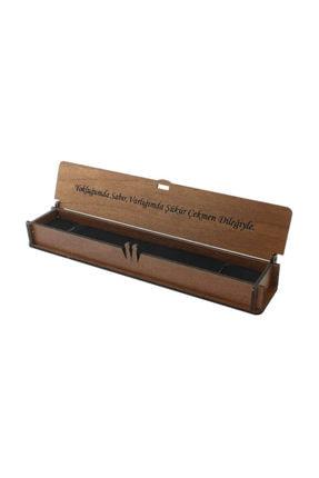 Tesbihane Özel Mesaj Yazılı Kahverengi Ahşap Hediye Tesbih Kutusu (m-4)