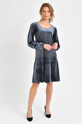 Quincey Kadife Elbise  Gri EBT2743