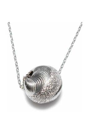 Nusret Takı 925 Ayar Gümüş Çizgili Top Modeli Kolye