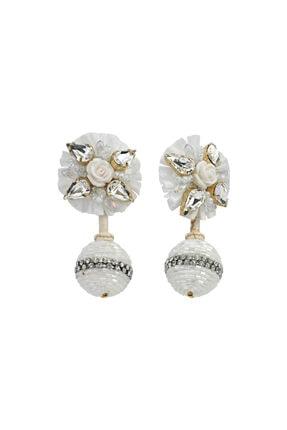 LUZDEMIA Kadın Beyaz Pearl Crown Küpeler - 1 -