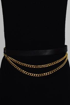 Cool & Sexy Kadın Siyah Gold Önü Zincirli Kemer BE309