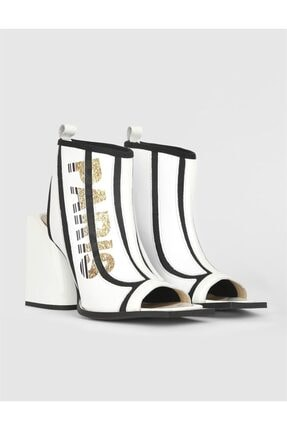 İlvi Kadın Beyaz Siyah Pole Streç Hakiki Deri Topuklu Sandalet