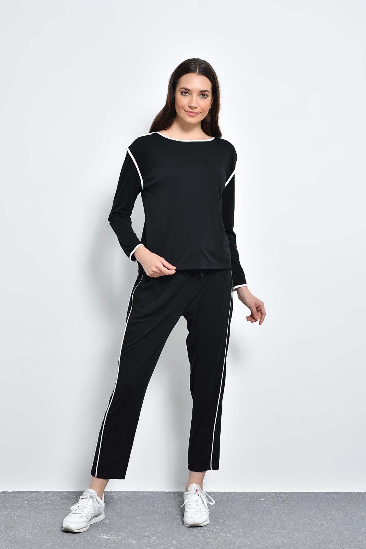 Hanna's Kadın Siyah Kontrast Biyeli Pantolon HN2127