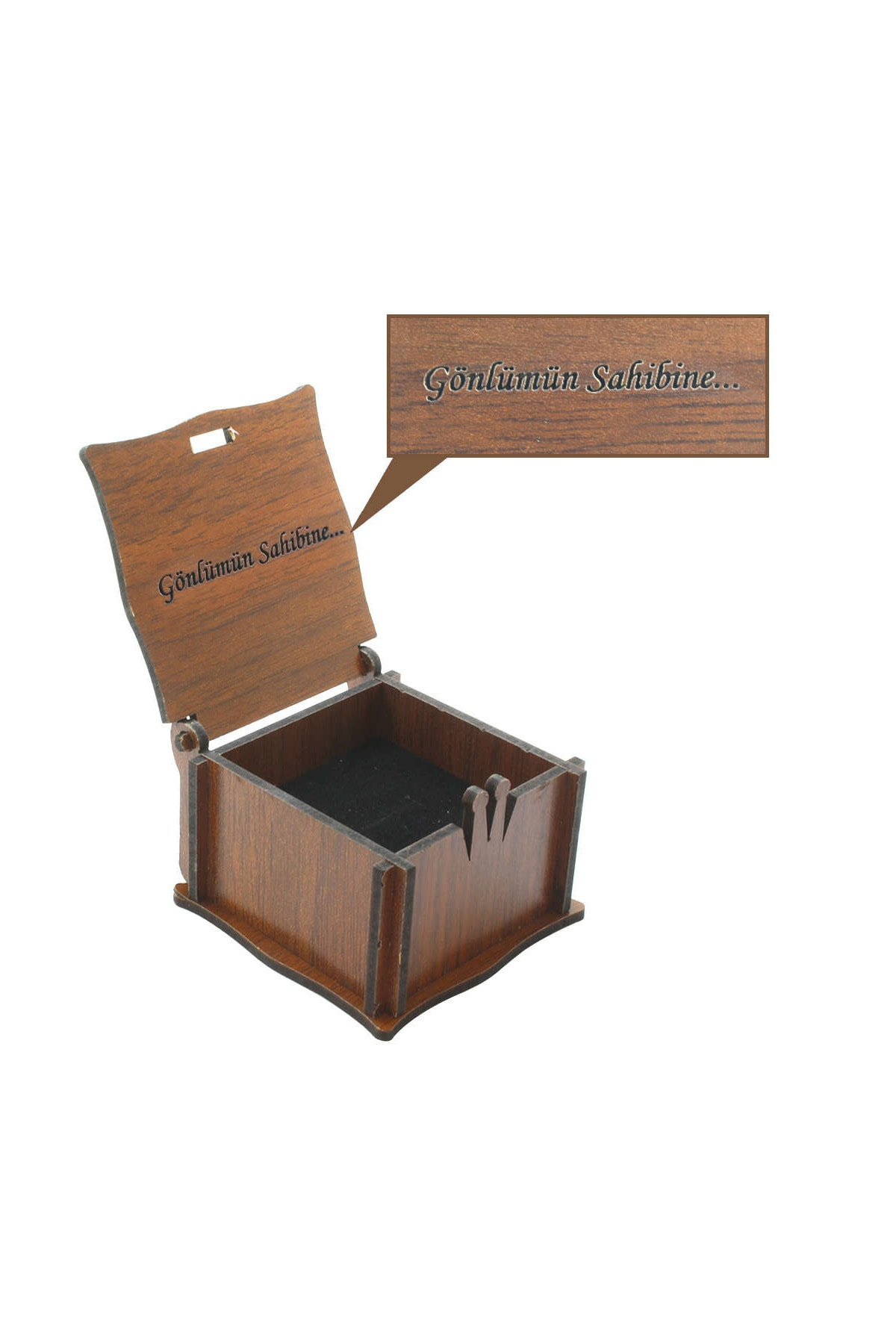 Tesbihane Özel Mesaj Yazılı Kahverengi Ahşap Hediye Yüzük-Alyans Kutusu (M-2) 110000062