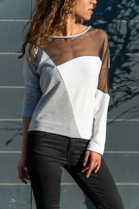 Güneşkızı Kadın Gri-Beyaz Tül Garnili Color Block Sweatshirt GK-BST2805