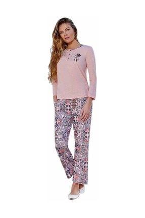 Berrak Bol Paçalı Düğmeli Desenli Pijama Takımı 444