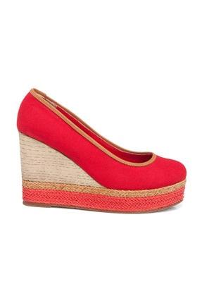Tergan Kırmızı Keten Kadın Ayakkabı