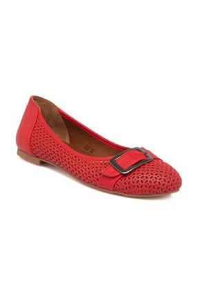 Tergan Kırmızı Deri Kadın Babet 64384A30