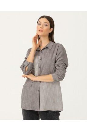 Seçil Yeni - Yeni Sezon Kadın Geometrik Desenli Gömlek - Gri