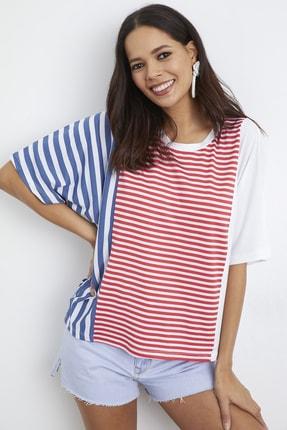 Cool & Sexy Kadın Ekru-Kırmızı Çizgili Salaş T-Shirt YİM121