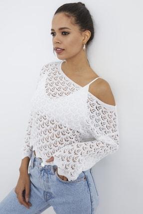 Cool & Sexy Kadın Beyaz Dantel Bluz SMT142