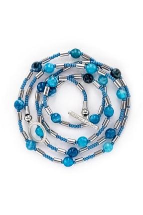 Valael Mavi Akik Kolye, Doğal Taşlı Zincir Kolye, El Yapımı Tasarım Zincir Kolye