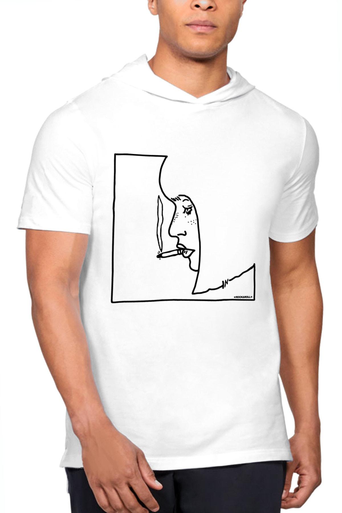Rock & Roll34 Profil Kız Beyaz Kapşonlu Kısa Kollu Erkek T-shirt